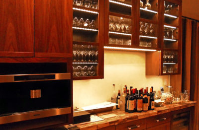 Photograph of the well-arranged and organized designer luxury kitchen bar