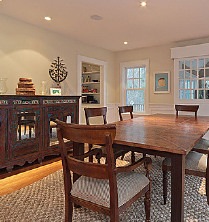 Photograph of a well organized dining room
