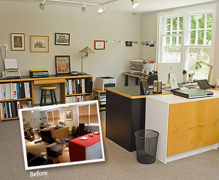 Photograph of a well organized home office/artist studio